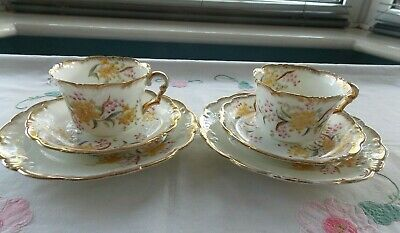 Two Pretty Antique Daisy Shaped Hand Painted Trio`s • 19.99£