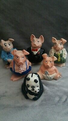 Natwest Pigs Full Set  +Panda And Baby - Original Stoppers Wade Of England • 30£