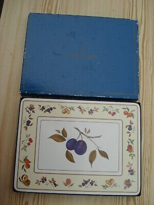 Royal Worcester Evesham Placemats - Plum/Fruit - Complete Boxed Set Of 6 • 8£