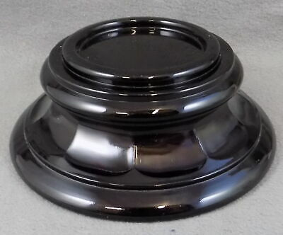 ART DECO MEDIUM SIZE ROUND SCALLOPED BLACK GLASS PLINTH OR BASE - BAGLEY ? - 7cm • 7.99£