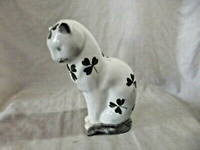 Vintage Wemyss Bovey Plichta Cat Decorated With Clover Leaves • 125£
