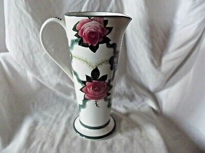 Wemyss Tall Jug / Vase With Rose Decoration With Retailers Stamp To The Base. • 195£