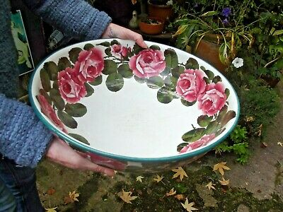 Antique Original Robert Heron & Sons Wemyss Large Bowl With Rose Design • 290£