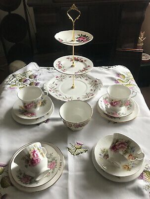 Pretty Vintage China Mismatched Tea Set & 3 Tier Cake Stand Pink Floral • 28£