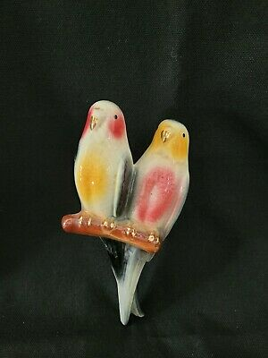 Vintage Wall Pocket Vase Planter Ceramic Parrots Lovebirds Parakeets Tropical  • 22.23£