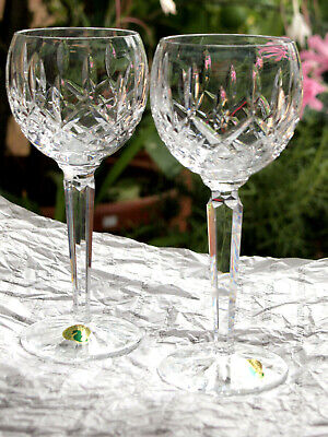 Waterford Crystal Lismore Hock Wine Glasses Pair Brand New Made In Ireland • 80£