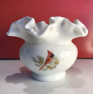 Fenton Milk Glass Vase Hand Painted Signed S.Lee Red Cardinals Ruffled Edge • 16£