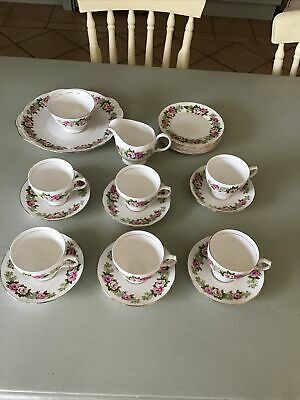 Colclough Enchantment Pink Roses Vintage 21 Piece Bone China Tea Service • 39.99£