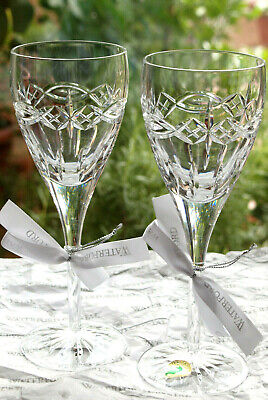 Waterford Crystal Dolmen Wine Glass Pair Mint Made In Ireland • 79£