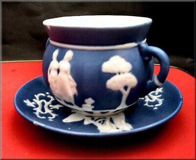 A Small Antique Jasperware Two Handled Bowl And Saucer In Good Condition For Age • 9.99£