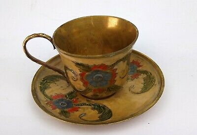 Vintage Ornate Brass Cup And Saucer Enamelled Blue And Green Flower Pattern  • 10£