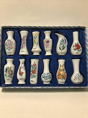 Vintage Porcelain 12 X Miniature Vase Collection, Flowers Of The Month Boxed • 15£