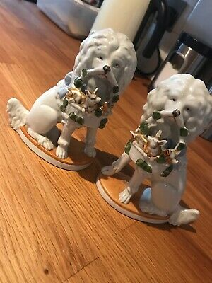 Pair Of Unusual Staffordshire Dogs With Baskets Vintage Antique Wally Germany • 25£