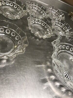 Pressed Glass Dessert Service Vintage Antique Bowls  • 15.99£