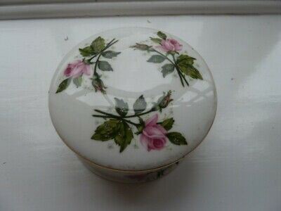 Crown Staffordshire Round Trinket Box With Pink Roses • 3£