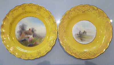 Two ROYAL WORCESTER Handpainted  RUSHTON Cabinet PLATES 1933 Yellow Pair • 80£