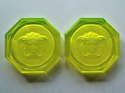 2 X Versace Rosenthal Glass Crystal Coasters Brand New In Yellow • 50£
