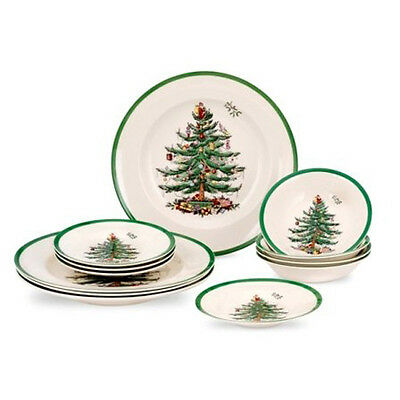 Spode Christmas Tree 12 Piece Set (4 X 27cm Plates, 16cm Plates, Cereals) • 67.95£