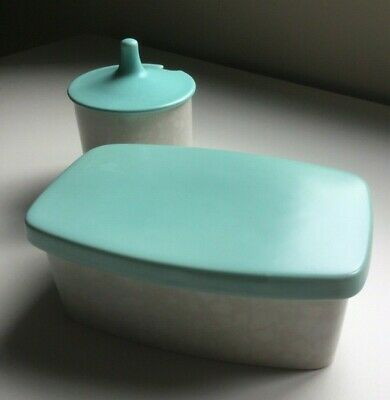 Vintage Poole Pottery Twintone Butter Dish And Jam Pot In Ice Green & Seagull • 3.70£