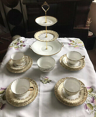Vintage China Mismatched Tea Set & 3 Tier Cake Stand Gold & White New Price • 30£
