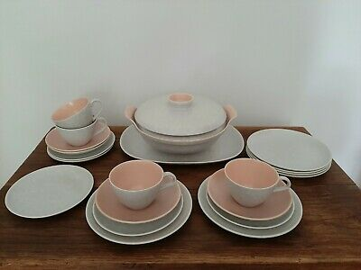 Vintage Poole Twintone Peach & Seagull Job Lot - Tureen Lids Cups Saucers Plates • 12£