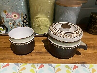 Vintage Earthenware Pottery Small Cook Pot & Matching Dipping Bowl, Set • 8£