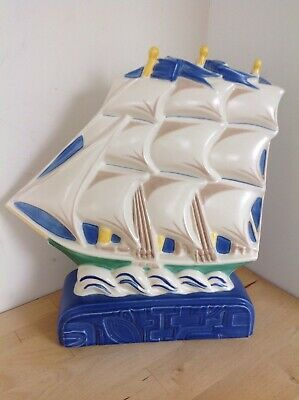 Superb Contemporary 1990s Poole Studio Pottery Deco Style Galleon Harold Stabler • 31£