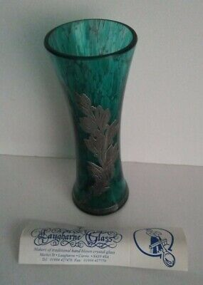 LAUGHARNE TEAL 16cm GLASS VASE SOLID SILVER OVERLAY HALLMARKED Certificate • 115£
