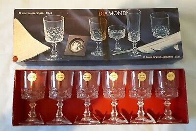 Six Vintage Crystal L D'Arques Stemed Wine Glasses From The 1970s 6cm X 6cm • 3£