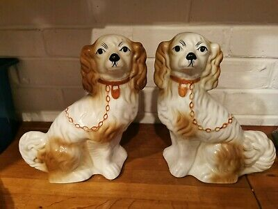 Pair Of Matching Pottery Dogs • 6£