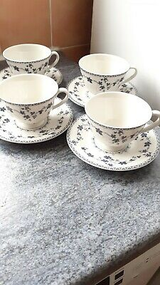 A Set Of 4 Royal Doulton Yorktown Ribbed Cups & Saucers • 9.99£