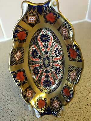 Crown Derby Imari 1128 Small Oval Trinket Dish. Gold Band Pre Owned. Good Cond. • 28£
