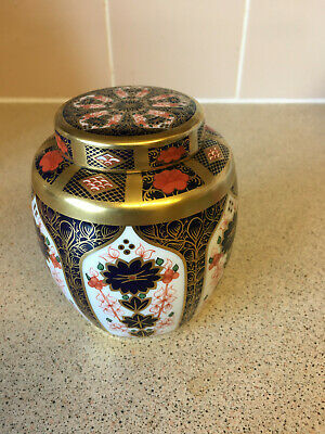 Crown Derby Imari 1128 Smll Ginger Jar. Solid Gold Bands. Pre-owned. Good Cond • 102£