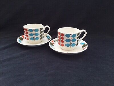 2 VINTAGE MIDWINTER 1960s CHERRY TREE CUPS & SAUCERS. BRIGHT BLUES ABSTRACT • 15£