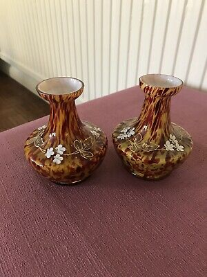 Pair Vintage Mottled Vases With Hand Painted Detail. • 6£