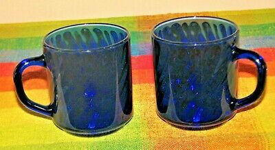 Arcoroc France Vintage Set Of 2 Cobalt Blue Swirl Glass Coffee Mugs Cup   • 9.71£