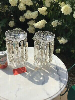 Pair Of Edwardian Vases With Lustres • 200£
