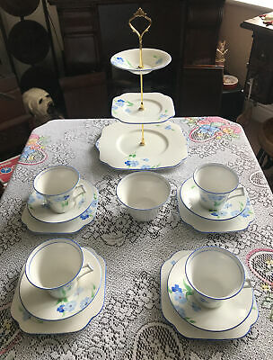Vintage Art Deco Royal Vale Colclough Tea Set & 3 Tier Cake Stand • 35£