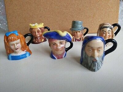 Set Of 6 Vintage Franklin Porcelain Miniature Toby Jugs By Peter Jackson • 25£