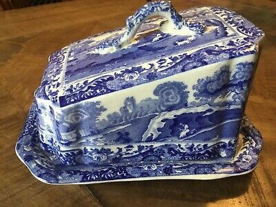 Antique Copeland Spode 'italian' Cheese Dish & Cover Blue Oval • 25£