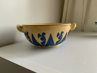 Antique Wedgwood Drabware With  Blue Relief 2 Handled Small Bowl • 39.99£