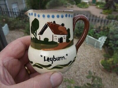 Vintage Motto Ware Watcombe Pottery Cottage Jug Leyburn Fresh From The Farm • 12.99£