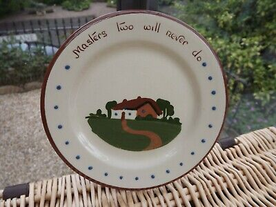 Vintage Motto Ware Dartmouth Pottery Cottage Plate  Masters Two Will Never Do  • 12.99£