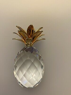 SWAROVSKI Crystal Pineapple Ornament With Gold Coloured Leaves - 6cm • 7.50£