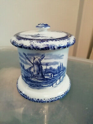 W & R Carlton Ware Blue And White, Windmill And Ships,lidded Pot 1914 • 18.80£