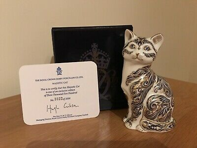 Royal Crown Derby Paperweight Majestic Cat - Ltd Edition Gold Stopper Box • 75£