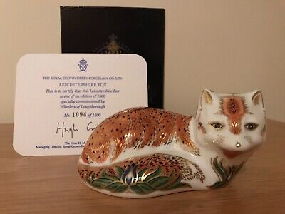 Royal Crown Derby Paperweight Leicestershire Fox Limited Edition Gold Stopper  • 59.95£