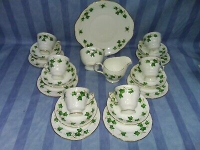 21 Piece Colclough  Ivy Leaf  Tea Set. Cake Plate, Sugar Bowl, Milk Jug, 6 Trios • 40£
