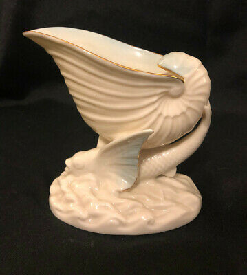 Vintage Belleek Flying Fish And Nautilus Shell Bowl Vase 7th Mark • 13.84£