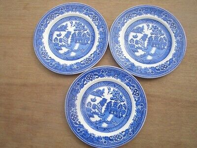 Vintage Set 3 Tea Plates Old Willow Alfred Meakin England • 4.10£